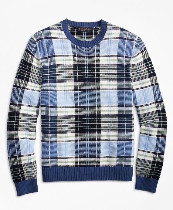 Supima® Cotton Plaid Crewneck Sweater