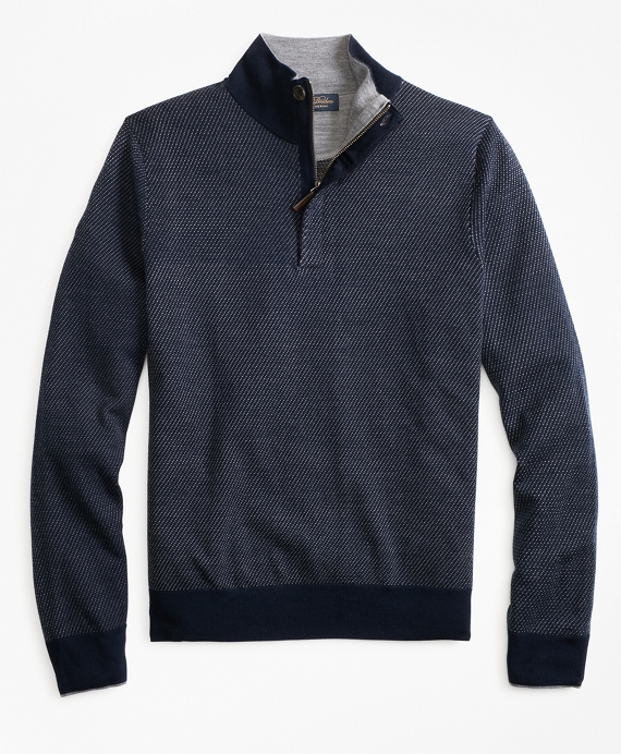 Merino Wool Twill Half-Zip Navy
