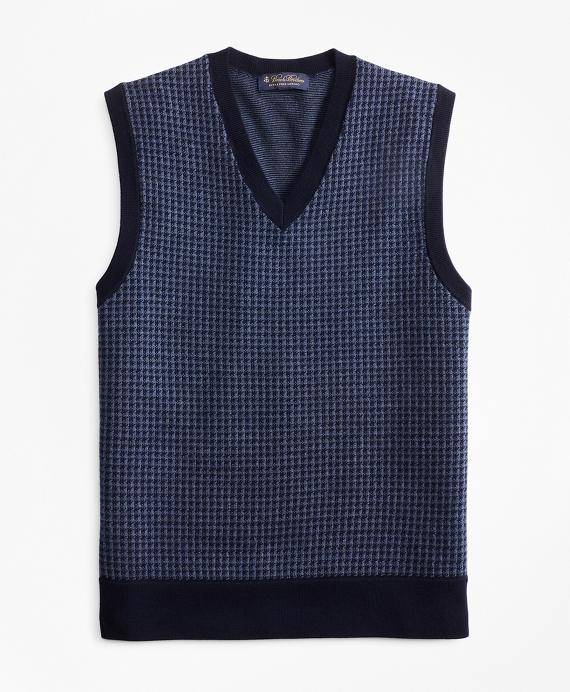 Merino Wool Houndstooth Vest Navy