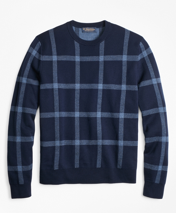 Merino Wool Windowpane Crewneck Sweater Blue
