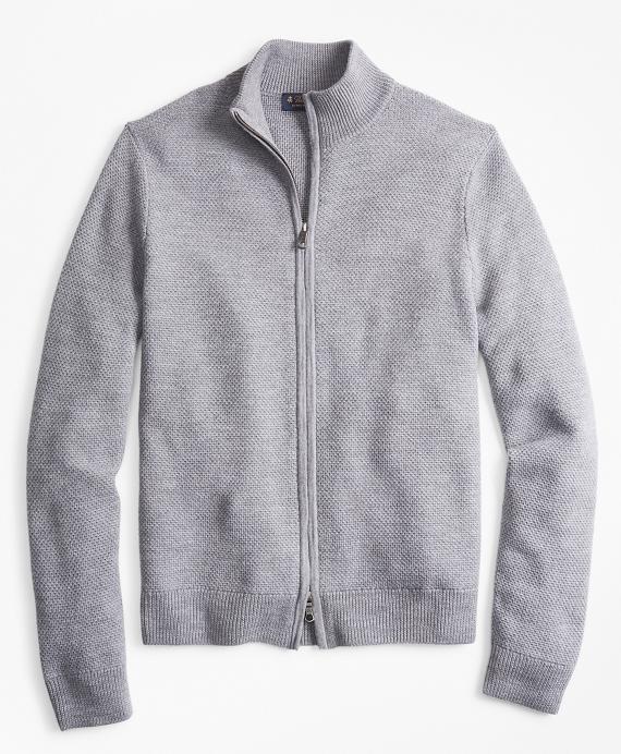 Honeycomb Stitch Full-Zip Cardigan Grey