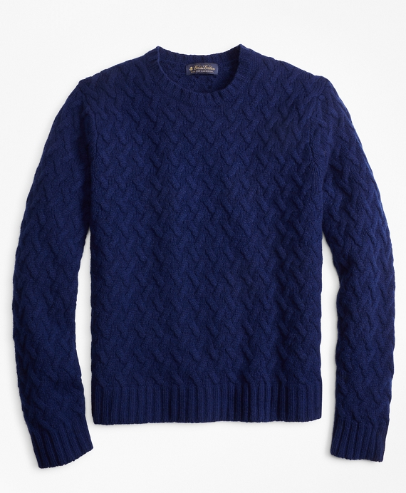 Traveling Cable Crewneck Sweater Blue