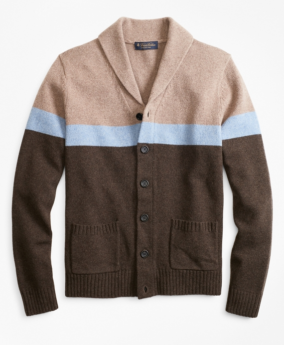 Merino Wool Color-Block Shawl Collar Cardigan Brown-Tan