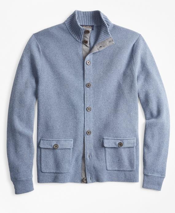 Mockneck Button-Front Cardigan Blue
