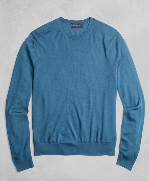 Golden Fleece® 3-D Knit Fine-Gauge Merino Crewneck Sweater Blue