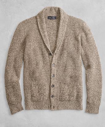 Golden Fleece® 3-D Knit Marled Alpaca-Blend Shawl-Collar Cardigan