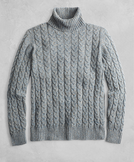Golden Fleece® 3-D Knit Marled Alpaca-Blend Turtleneck Cable Sweater