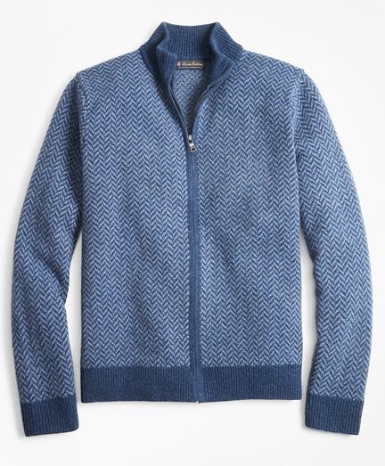 Lambswool Herringbone Full-Zip Sweater