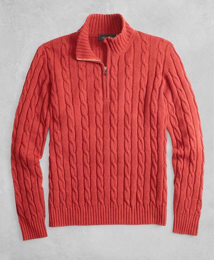 Golden Fleece® 3-D Knit Alpaca-Blend Half-Zip Cable Sweater