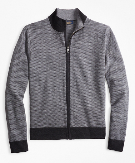 Merino Wool Micro-Diamond Full-Zip Sweater