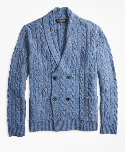 Double-Breasted Cable Cardigan