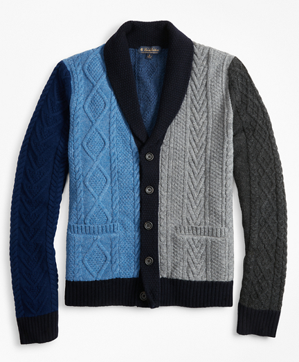 Color-Block Cable Cardigan