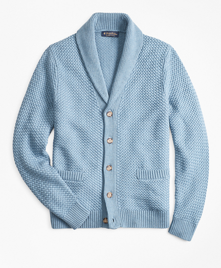 Basket Stitch Shawl Collar Cardigan