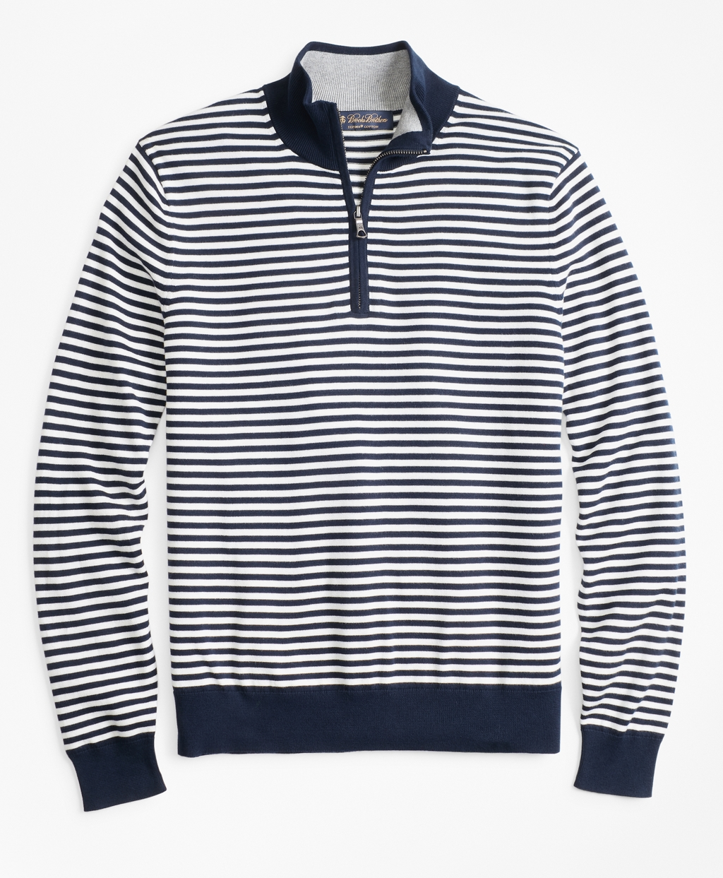 Men's Vintage Sweaters, Retro Jumpers 1920s to 1980s Brooks Brothers Mens Yacht Stripe Half-Zip Sweater $70.80 AT vintagedancer.com