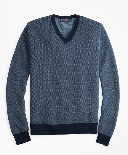 Supima® Cotton Pique Stitch V-Neck Sweater
