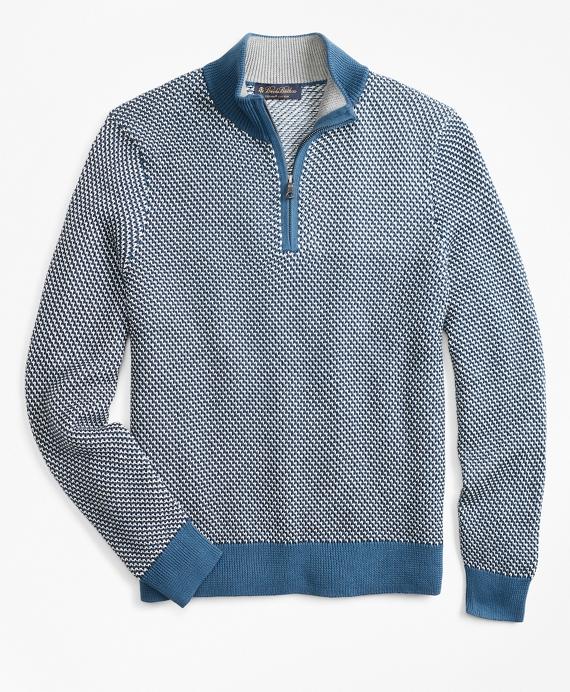Jacquard Half-Zip Sweater Blue