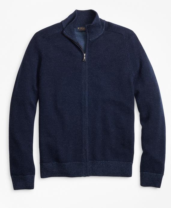 Washable Merino Wool Full-Zip Sweater Navy