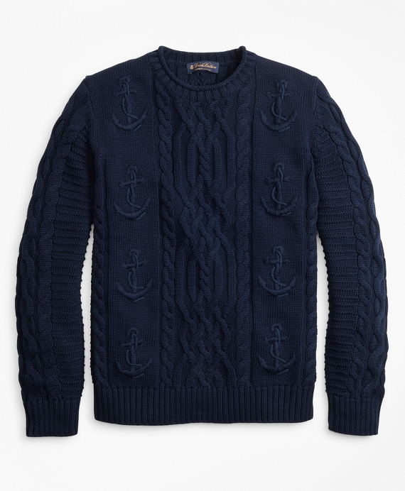 Supima® Cotton Anchor Cable Rollneck Sweater Navy