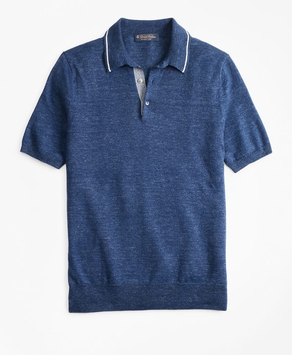 Linen and Cotton Polo Sweater Dark Blue