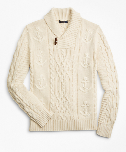Supima® Cotton Anchor Cable Shawl Collar Sweater