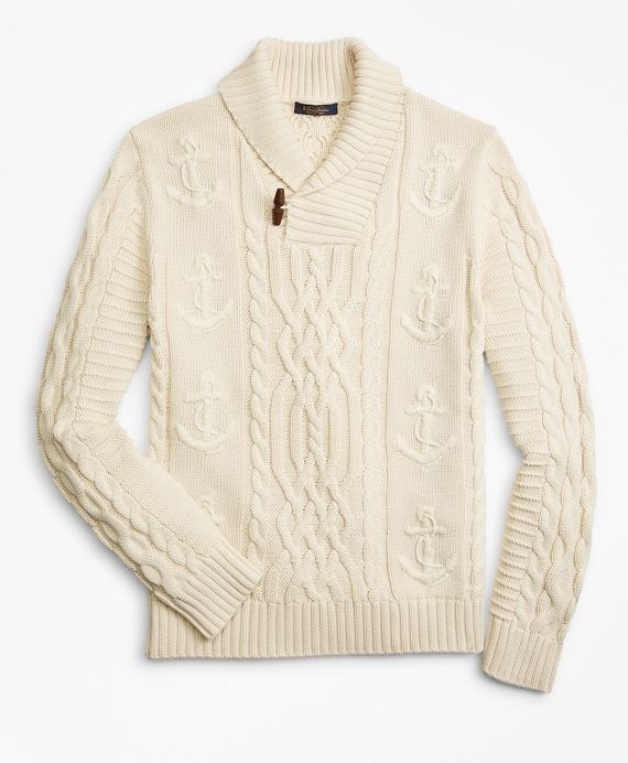 65d1f67fc5 Supima® Cotton Anchor Cable Shawl Collar Cardigan - Brooks Brothers