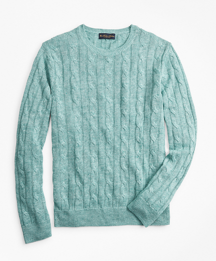Linen Cable Crewneck Sweater