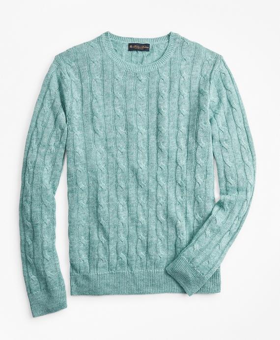Linen Cable Crewneck Sweater Aqua