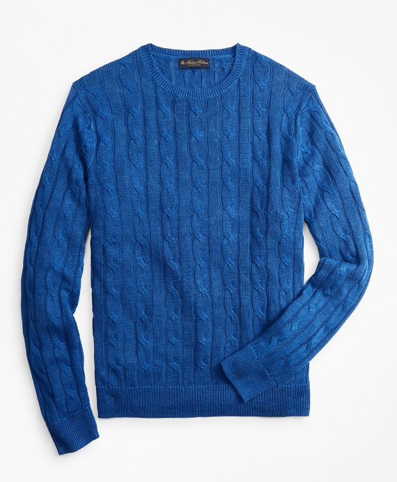 Linen Cable Crewneck Sweater Bright Blue