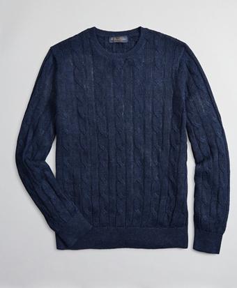 Linen Cable Crewneck Sweater