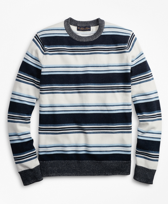 Supima® Cotton Stripe Crewneck Sweater Navy-Multi