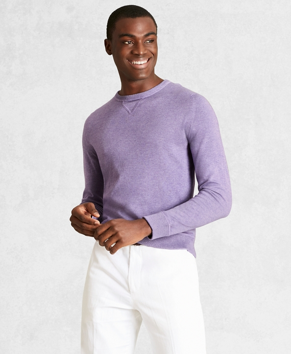 Golden Fleece® 3-D Knit Cotton-Cashmere-Silk Crewneck Sweater Lilac