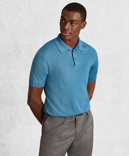 Golden Fleece® 3-D Knit Fine-Gauge Merino Short-Sleeve Polo