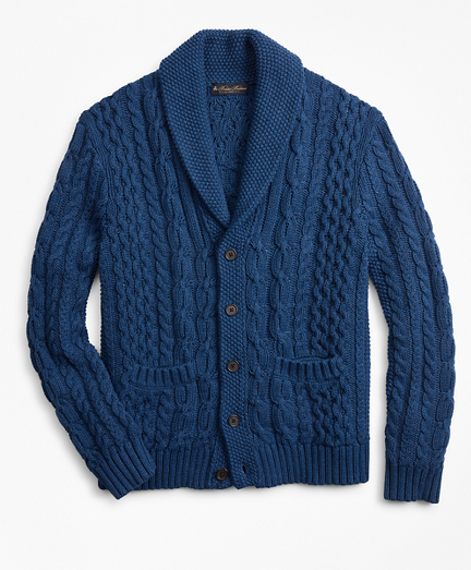 Shawl Collar Cable Cardigan