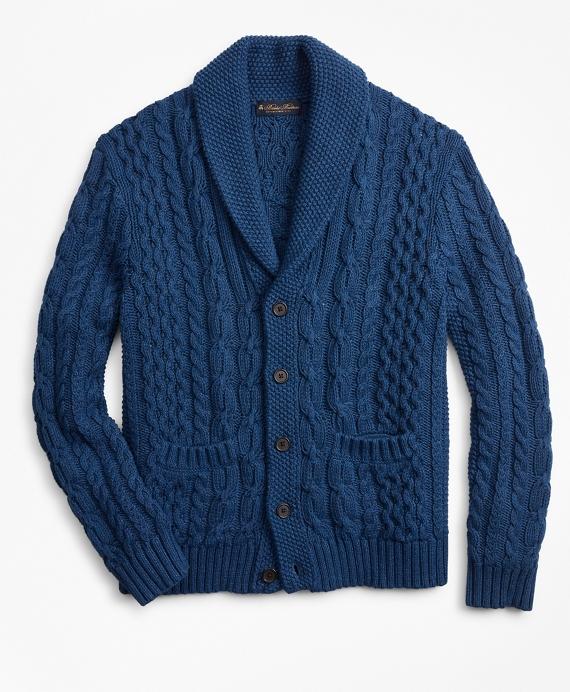 Shawl Collar Cable Cardigan Blue
