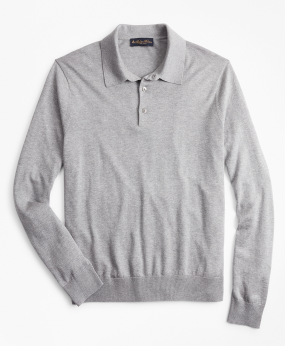 Silk And Cotton Polo Sweater Grey