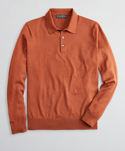 Brooksbrothers Silk And Cotton Polo Sweater