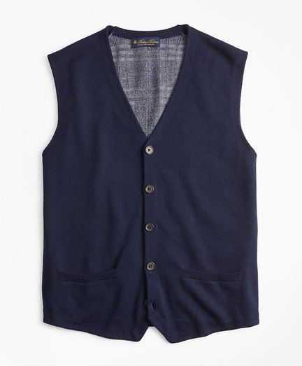 Washable Merino Wool Plaid Back Waistcoat