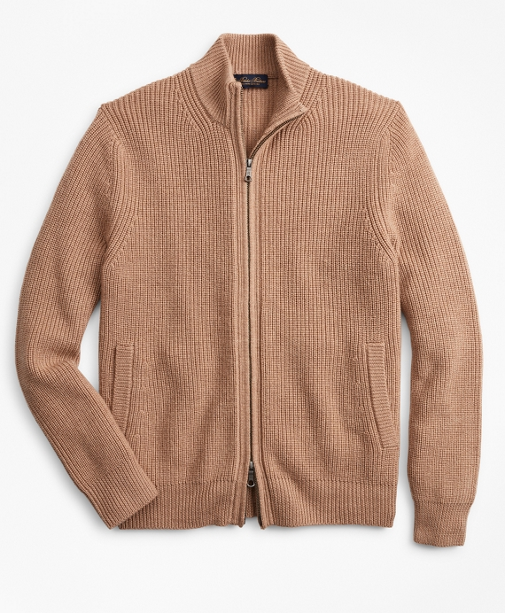 Washable Merino Wool Full-Zip Sweater Camel