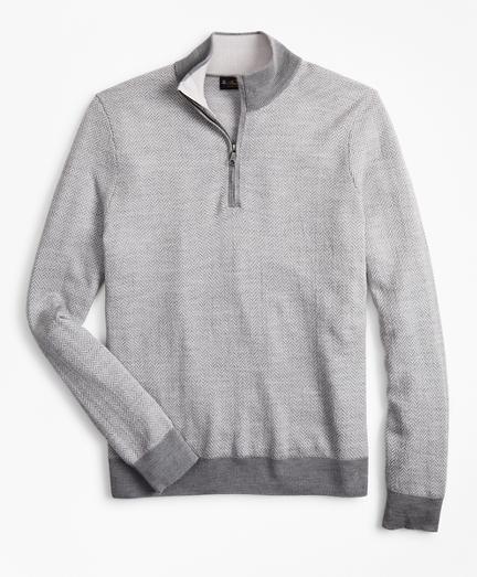 Washable Merino Wool Herringbone Half-Zip