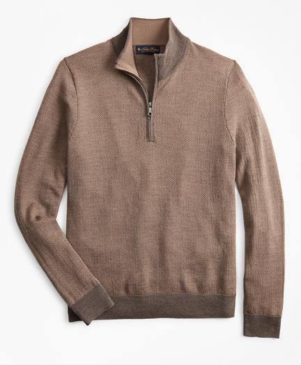 Washable Merino Wool Herringbone Half-Zip