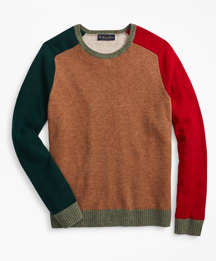 Lambswool Colorblock Crewneck Sweater