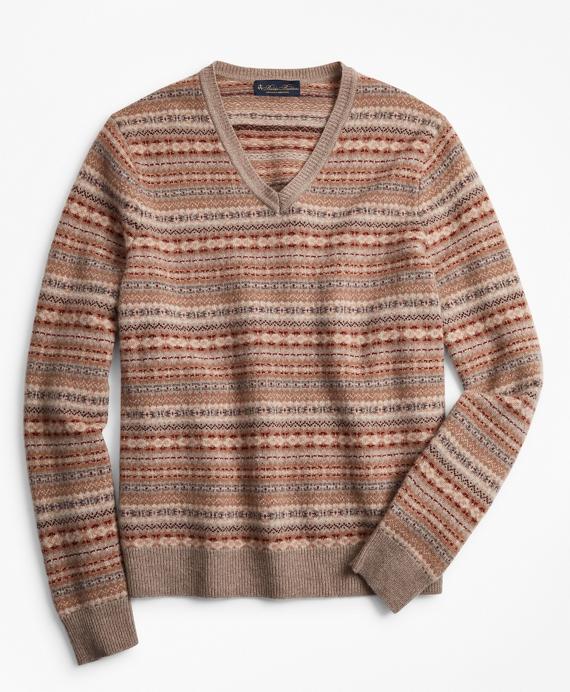 Lambswool Fair Isle V-Neck Sweater Tan