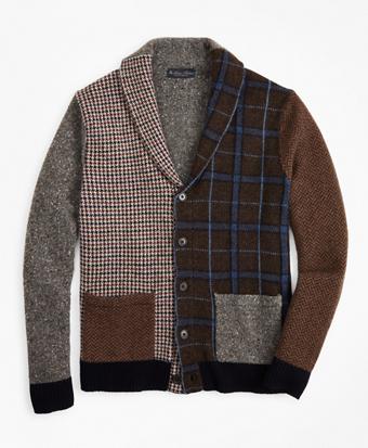 Multi-Pattern Shawl Collar Cardigan