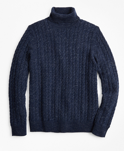 Marled Cable Turtleneck Sweater