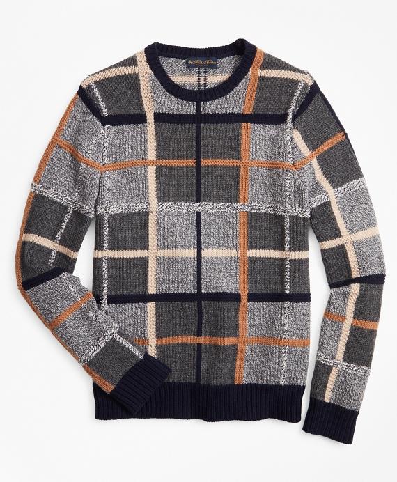 Merino Wool Plaid Crewneck Sweater Grey