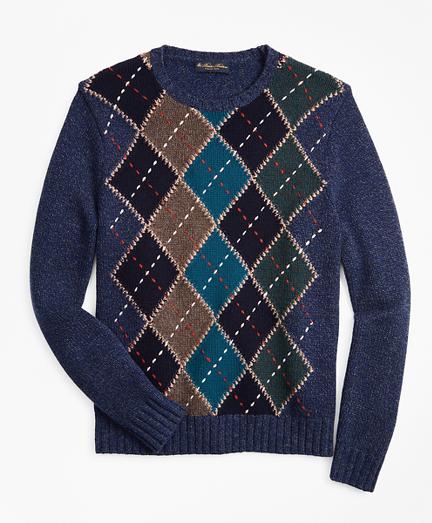 Merino Wool Argyle Crewneck Sweater