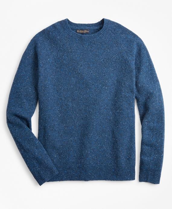 Merino Wool Donegal Raglan Crewneck Sweater Blue