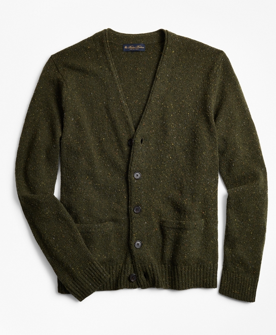 Merino Wool Donegal Rollneck Cardigan Green