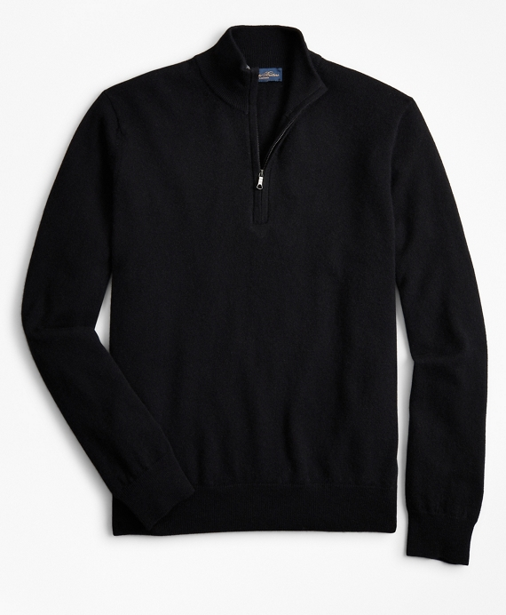 Two-Ply Cashmere Half-Zip Sweater Black