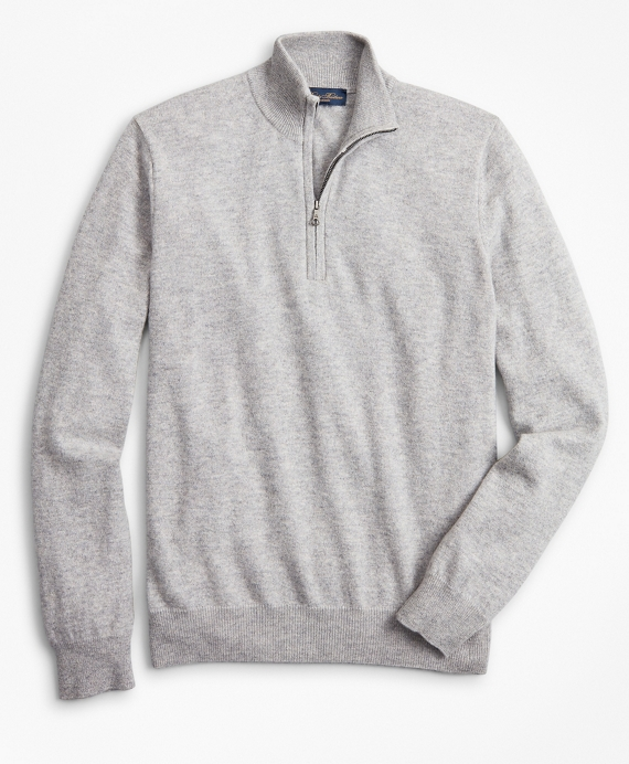 Two-Ply Cashmere Half-Zip Sweater Grey